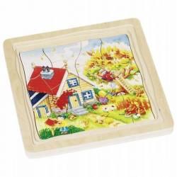 GOKI Drewniane puzzle edukacyjne Układanka warstwowa PORY ROKU 3+