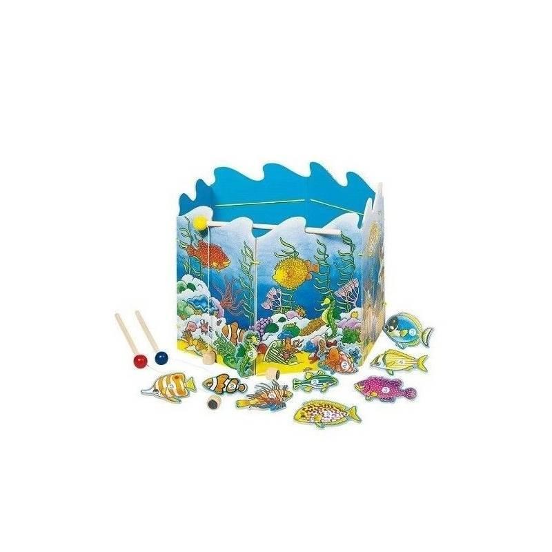 GOKI Wędkarzyki Łowienie ryb Drewniana zabawka 19 elementów